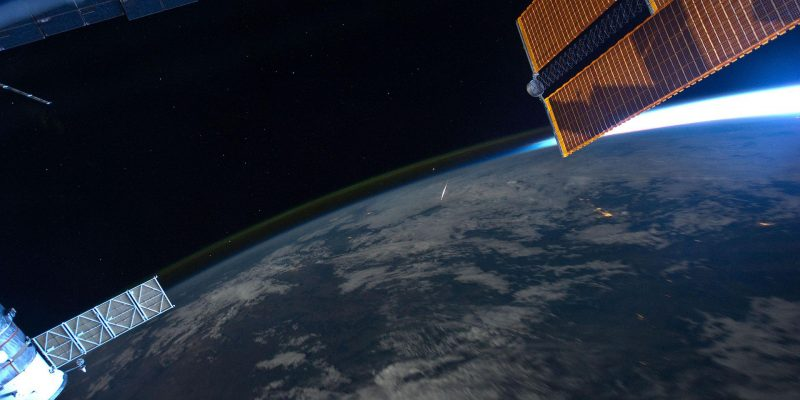 Perseid meteor shower from iss